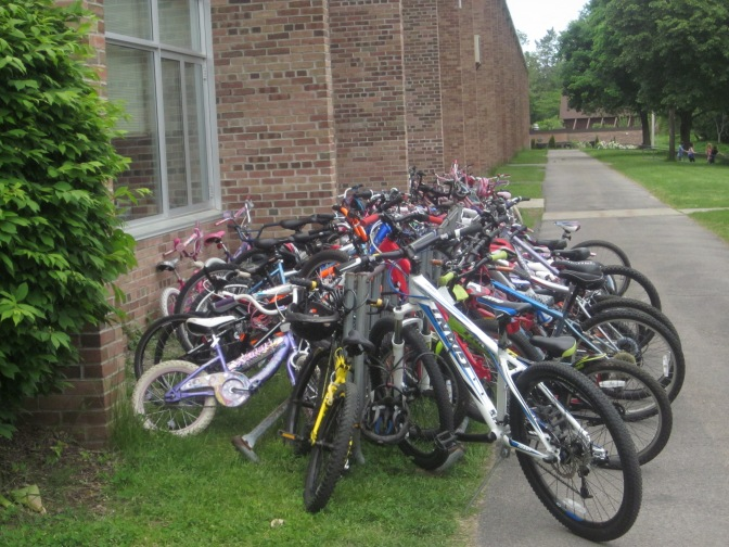 Bike to school day at my local elementary school, May, 2014