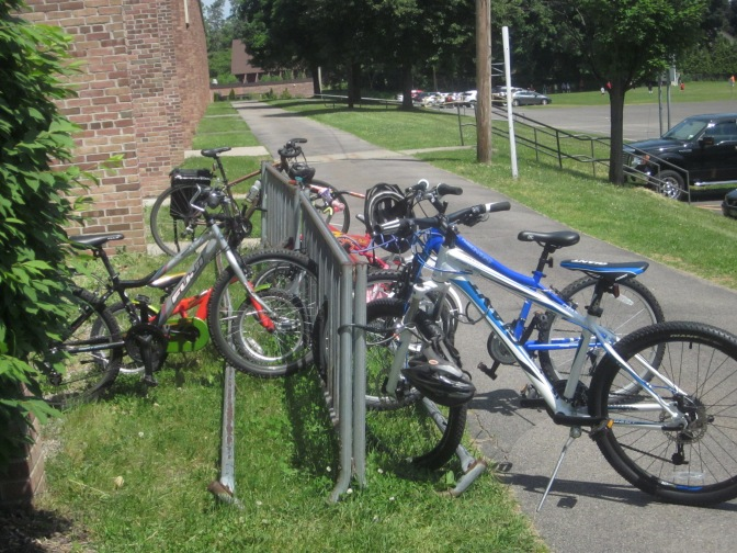 "A ""Regular"" school day bike rack, June, 2014"