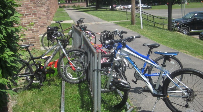 "A ""Regular"" school day bike rack, June, 2014"